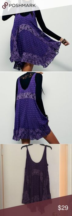 NWOT Free People Purple Slip Dress Brand new never worn without tags. Purple lace slip dress. Gorgeous color and perfect for layering all year long! Oversized. Can fit up to medium. Free People Dresses