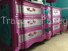 This particular bedroom set was made for my grandbabys room. They wanted fun and energetic colors to transform her room from baby to big girl. Hand Painted Furniture, Paint Furniture, Upcycled Furniture, Unique Furniture, Kids Furniture, Furniture Makeover, Bedroom Furniture, Peacock Bedroom, Wardrobe Bed