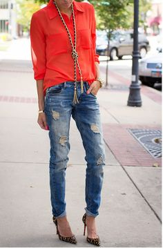 Spring / summer - street & chic style - bright sheer shirt + ripped jeans + leopard heels