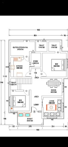 2bhk House Plan, Large House Plans, House Plans Mansion, Model House Plan, Simple House Plans, Duplex House Plans, House Plans One Story, Bedroom House Plans, Dream House Plans