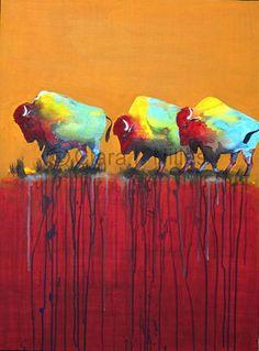 Giclee Canvas Print, Bison on Mustard Paprika, 8x10, American Buffalo, Southwest Colors, Bison Art, Buffalo Art