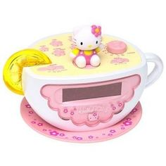 HELLO KITTY Digital AM/FM Clock Radio with Night Light (my cousin & I used to have these in high school <3)