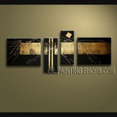 Astonishing Modern Abstract Painting Artist Oil Painting Stretched Ready To Hang Abstract. This 4 panels canvas wall art is hand painted by V.Chua, instock - $145. To see more, visit OilPaintingShops.com