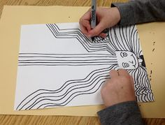 Repeat each line at least 5 times. Sharpie Projects, Fall Art Projects, Sharpie Art, Sharpie Doodles, Class Projects, Zen Doodle Patterns, Doodle Borders, 4th Grade Art, Art Terms