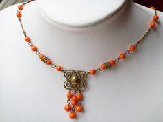 VINTAGE Art Deco CZECH FILIGREE Orange Glass Bead EGYPTIAN Style Necklace | eBay