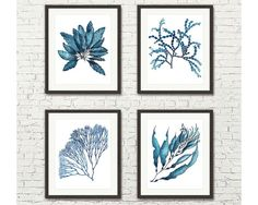 Coral and Seaweed Handpainted Set of 4 Four Botanical Prints in Navy Blue White - Nautical Wall Art Sea Coral Painting Poster Gift