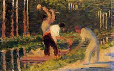 urgetocreate:  Georges Seurat, Men Laying Stakes, 1882-83