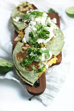 // Mexican Street Corn Quesadillas with Feta and Lime