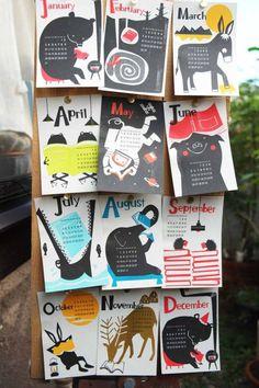 """2016 Calendar / Stencil printing / two ink colors/ 148mm X100mm オンラインストアAOZORAで販売しております! 11月30日までご注文の方は送料無料! テーマは """" """" 印刷は私が個人的に惚れこんでいる、孔版印刷のキング、レトロ印刷さん。味のある厚・富士わら紙に、毎月2色インク使用でイラストをプリント。月ごとに変わるとぼけた動物たちをお楽しみくださいませ facebook Behance ※こちらはBehance"""