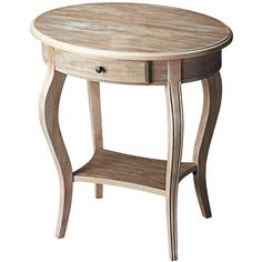 Butler Driftwood Oval Accent Table (485 CAD) ❤ liked on Polyvore featuring home, furniture, tables, accent tables, brown, brown furniture, butler table, drift wood table, shelves furniture and shelf table