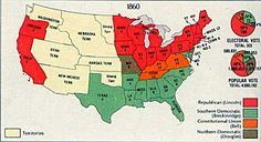 Electoral Map of 1860 - The votes of the Electoral College were split among four candidates in the 1860 presidential election. The states that Lincoln won are shown in red, Breckenridge in green, Bell in orange and Douglas in brown.