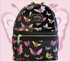 🦋 - Pokemon Butterfly BUTTERFREE - Cosplay Mini Faux Leather All Over Print Backpack - Catch all the honey and breeze through the day with this playful Pokemon Butterfly Mini Backpack from - Backpack Purse, Pokemon Backpack, College Bags For Girls, Cute Mini Backpacks, Mini Mochila, Faux Leather Backpack, Barrel Bag, Cute Bags, Feminine Fashion