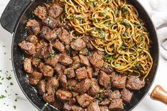 Garlic butter Steak Bites with Lemon Zucchini Noodles – So much flavor and so easy to throw together! Sirloin steak bites are marinated and cooked to perfection in a delicious garlic butter s… Zucchini Noodle Recipes, Zucchini Noodles, Egg Noodles, Steak Recipes, Cooking Recipes, Healthy Recipes, Skillet Recipes, Skillet Meals, Delicious Recipes
