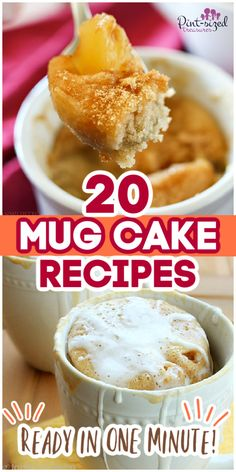 These mug cakes from Pint-sized Treasures are made in the microwave, ready in minutes, and only use a few ingredients! They're perfect for a late-night snack or even a date night when you and your husband want different desserts! Try these super quick mug cake recipes today! #mugcakes #cake #dessert #dessertforone #minidessert #easyrecipe #foodrecipe #cakerecipe Late Night Snacks, Yummy Food, Tasty, All Family, Few Ingredients, Mini Desserts, Recipe Today, Cake Recipes, Easy Meals