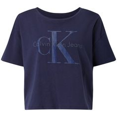 Calvin Klein Teca Cropped Logo T-Shirt (€26) ❤ liked on Polyvore featuring tops, t-shirts, shirts, crop top, calvin klein shirts, print t shirts, t shirt, short sleeve t shirt and blue t shirt