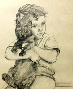Boy with Cat . 2013  by Gerardo  Rios on ARTwanted