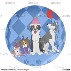 Party Animals Melamine Plate  #dogs #pets #birthday #party #animals