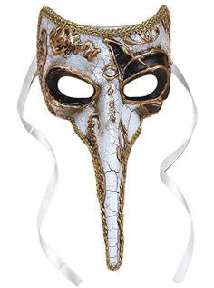 Long-Nosed Black & White Venetian Adult Mask Description: Having a black tie affair? No masquerade is complete without a beautiful mask like this! Perfect for polishing off yo Plague Mask, Plague Doctor Mask, Plague Dr, Venitian Mask, Mens Masquerade Mask, Masquerade Wedding, Masquerade Ball, Nose Mask, Beak Mask