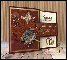 Stampin' Up Gather Together Buckle Card Video Tutorial – Cindy Lee Bee Designs Fun Fold Cards, Folded Cards, Holiday Cards, Christmas Cards, Diy Thanksgiving Cards, Pumpkin Cards, Leaf Cards, Stamping Up Cards, Greeting Cards Handmade