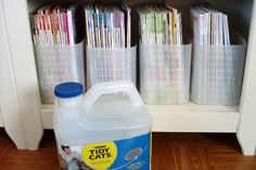 Recycled Kitty Litter Jugs Make Great DIY Magazine Racks: As found on Pinterest via pinner Paula Hertz