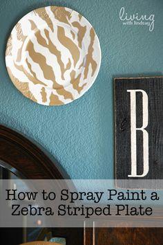 how to spray paint a zebra striped plate via MakelyHome.com