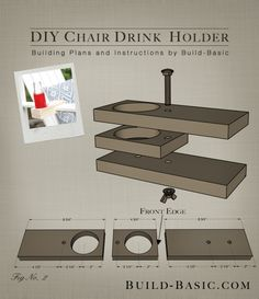 Build a DIY Chair Drink Holder - Building Plans by @BuildBasic www.build-basic.com --- 15 minutes and $3 -- adjustable to fit chairs, deck railing, etc