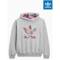 adidas Originals Grey Logo Hoody ($25) ❤ liked on Polyvore featuring tops, hoodies, gray hooded sweatshirt, gray top, hoodie top, grey hooded sweatshirt and grey hoodie