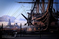 The Royal Navy's oldest commissioned vessel, Lord Nelson's flagship HMS Victory, is pictured in her permanent berth at Portsmouth Naval Base.