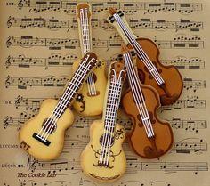 biscuits décorés guitares et violons