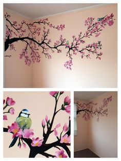Bilder Wandmalerei: Frühlingsbaum Babyzimmer Mehr Get Your Dream Dining Room with the Right Furnitur Cherry Blossom Tree, Blossom Trees, Cherry Blossom Painting, Cherry Blossom Bedroom, Cherry Tree, Tree Wall Painting, Painting Walls, Baby Painting, Wall Painting For Bedroom