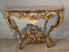 Very Fine, French, Early Louis XV Period console table.: In solid ...
