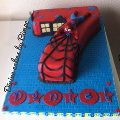 Number 7 spiderman birthday cake