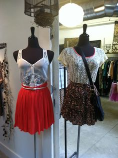 Lace tops and flowy skirts Store Mannequins, Flowy Skirt, Lace Tops, Skirts, Skirt, Gowns, Lace Tank Tops, Skirt Outfits