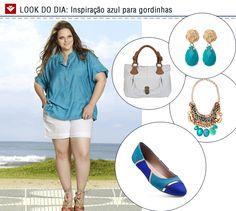 O look do dia de hoje é uma inspiração para as gordinhas com shorts e camisa azul para o verão 2013. Inspire-se no look para curtir os dias ensolarados da estação!