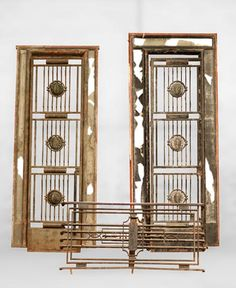 POILLERAT Gilbert - Art Deco pair of doors and window railing, wrought iron and bronze, 1936 (Reference - Available at Galerie Marc Maison Metal Gates, Wrought Iron Gates, Ornamentation In Architecture, Architectural Antiques, Magazine Art, Art Deco Fashion, French Antiques, Bronze, Windows