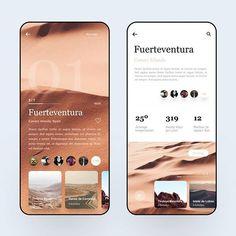 Fuerteventura Travel Guide by David Felipe V for Hiwow in App UI Mobile UI interface - Ios App Design, Mobile App Design, Web Mobile, Interface Design, Interface App, Ui Design Tutorial, Branding, Pop Design, Flat Design