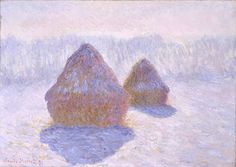 «Meules, effet d'hiver» [Haystacks, Effect of Snow and Sun], by Claude Monet (French, 1840–1926), 1891.