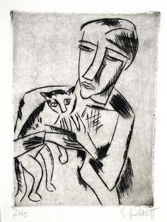 Karl Schmidt-Rottluff (1884-1976) - Mädchen mit Katze (Girl with Cat), drypoint, 1920