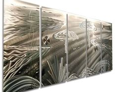 Extra Large Abstract Underwater Art, Silver Modern Metal Wall Sculpture, Contemporary Beach Decor, Handmade - Silver Sting XL by Jon Allen Large Artwork, Large Wall Art, Metal Wall Sculpture, Wall Sculptures, Metal Wall Decor, Metal Wall Art, Underwater Art, Fish Wall Art, Metal Fish