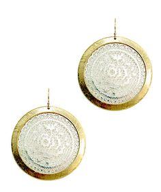 takobia Mixed Metal Two Tone Large Round Filigree Earrings