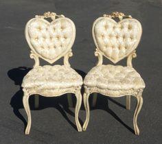 Vtg French Tuft White Heart Shaped Accent Chairs Silk Brocade Hollywood  Regency   EBay Silk Brocade