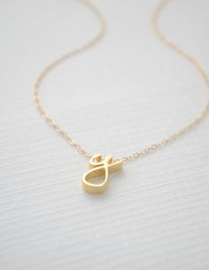 Gold Cursive Initial Necklace by Olive Yew