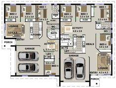 duplex design for corner blocks floor plan
