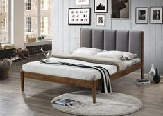 Rachele Mid-Century Fabric and Wood Platform Bed