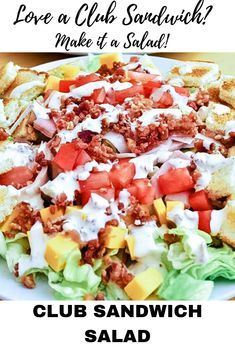 Club Sandwich Salad With Bacon Dressing Looking to turn dinner on its ear? Need a cool meal on a HOT day? This Club Sandwich Salad w. Easy Salads, Healthy Salads, Healthy Eating, Clean Eating Salads, Fruit Salads, Easy Summer Salads, Healthy Dishes, Salad Bar, Soup And Salad