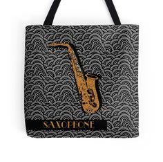 SAXOPHONE POP ART DECO SWING (tote bags $19 many sizes available to buy) art design by Cecely Bloom #tote #bag #music #sax #saxophone #art #design #musical #instrument #horn #player #blow