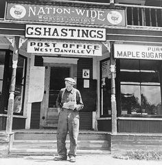 West Danville, Vermont (Photo by Fritz Henle, FSA-OWI). Frank Goss, seventy-one year old farmer, reads his mail outside the Gilbert S. Hastings's general store and post office. Happy Old Man, Old Post Office, Old Country Stores, Back Road, General Store, Old Men, Vintage Pictures, Main Street, Vermont