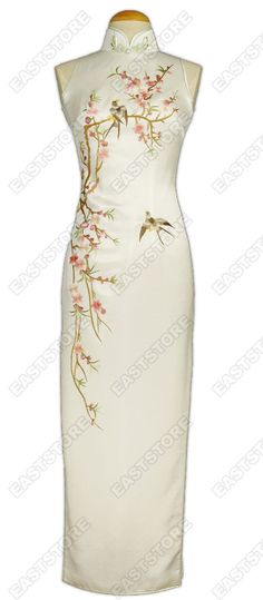 A New Year's wish from a pretty Qipao...blossoms with a pair of swallows to symbolise happiness and prosperity! [Stunning Tao Hua Embroidered Silk Cheongsam]