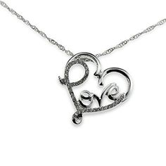 Crystal Accent Word Love Inside Open Heart Pendant Silver Necklace Perfect Gift Jewelry for Anniversary >>> To view further for this article, visit the image link. Silver Pendant Necklace, Crystal Pendant, Mother Gifts, Gifts For Mom, Mothers, Jewelry Gifts, Jewelry Necklaces, Mom Birthday Gift, Valentine Gifts
