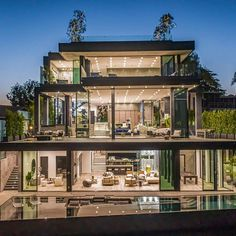 "Property Digest on Instagram: ""Located near the end of a quiet cul-de-sac in #BelAir, this modern marvel as some of the most spectacular views in all of Bel Air.…"" Mansion Designs, Bel Air, Villa, Marvel, House Design, Mansions, Architecture, Luxury, House Styles"